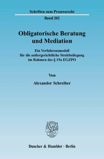Cover: Obligatorische Beratung und Mediation