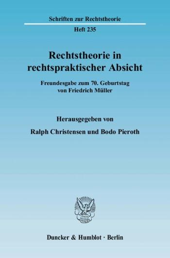 Cover: Rechtstheorie in rechtspraktischer Absicht