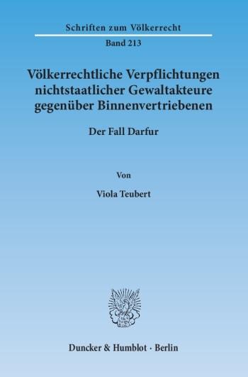 Cover: Völkerrechtliche Verpflichtungen nichtstaatlicher Gewaltakteure gegenüber Binnenvertriebenen