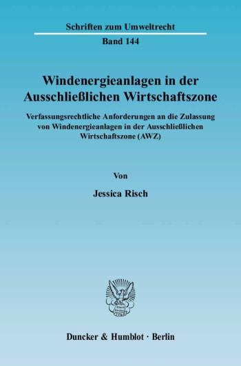 Cover: Windenergieanlagen in der Ausschließlichen Wirtschaftszone