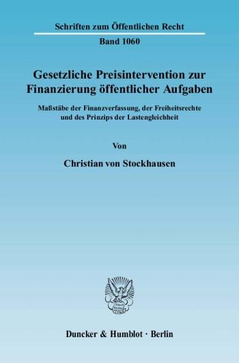 Cover: Gesetzliche Preisintervention zur Finanzierung öffentlicher Aufgaben