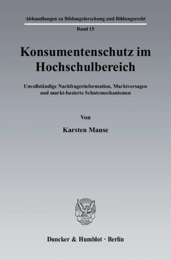 Cover: Konsumentenschutz im Hochschulbereich