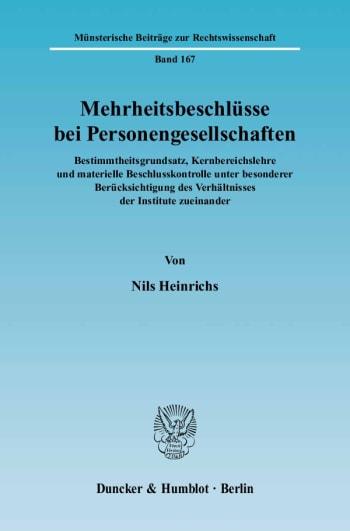 Cover: Mehrheitsbeschlüsse bei Personengesellschaften