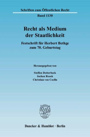 Cover: Recht als Medium der Staatlichkeit