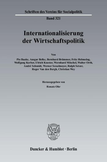 Cover: Internationalisierung der Wirtschaftspolitik