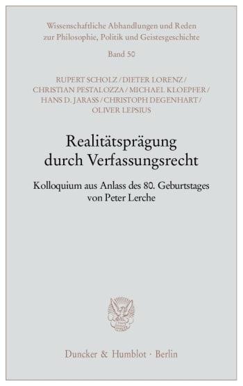 Cover: Realitätsprägung durch Verfassungsrecht
