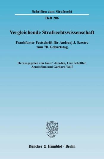 Cover: Vergleichende Strafrechtswissenschaft