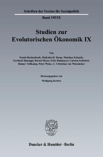 Cover: Studien zur Evolutorischen Ökonomik IX