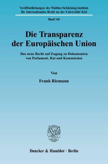 Cover: Die Transparenz der Europäischen Union
