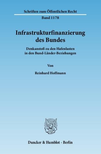 Cover: Infrastrukturfinanzierung des Bundes