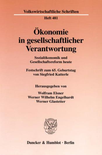 Cover: Ökonomie in gesellschaftlicher Verantwortung