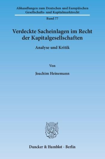 Cover: Verdeckte Sacheinlagen im Recht der Kapitalgesellschaften
