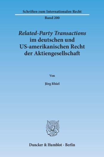 Cover: Related-Party Transactions im deutschen und US-amerikanischen Recht der Aktiengesellschaft