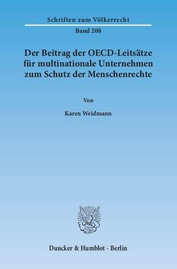 Cover: Der Beitrag der OECD-Leitsätze für multinationale Unternehmen zum Schutz der Menschenrechte