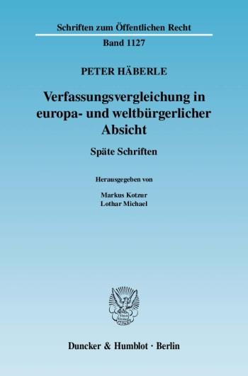 Cover: Verfassungsvergleichung in europa- und weltbürgerlicher Absicht