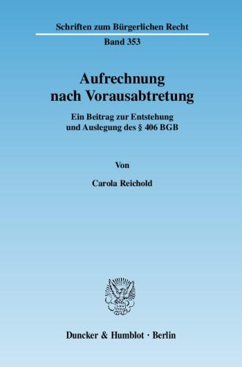 Cover: Aufrechnung nach Vorausabtretung