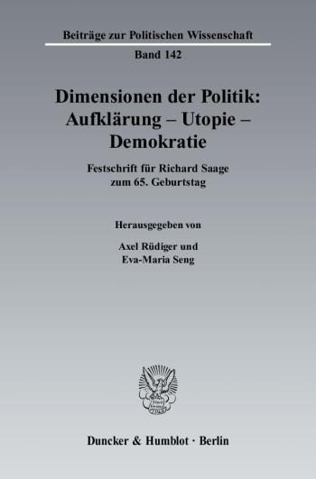 Cover: Dimensionen der Politik: Aufklärung – Utopie – Demokratie