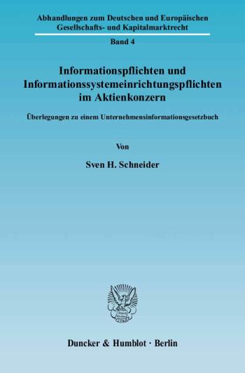 Cover: Informationspflichten und Informationssystemeinrichtungspflichten im Aktienkonzern