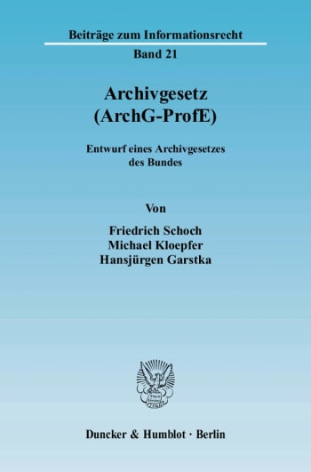 Cover: Archivgesetz (ArchG-ProfE)