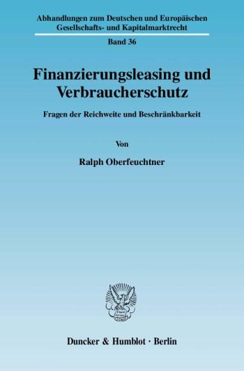Cover: Finanzierungsleasing und Verbraucherschutz