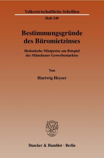 Cover: Bestimmungsgründe des Büromietzinses