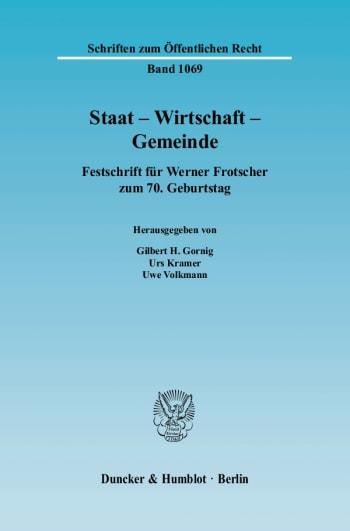 Cover: Staat - Wirtschaft - Gemeinde