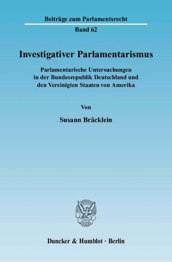 Cover: Investigativer Parlamentarismus