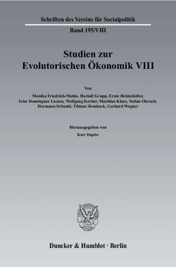 Cover: Studien zur Evolutorischen Ökonomik VIII