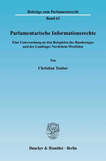 Cover: Parlamentarische Informationsrechte