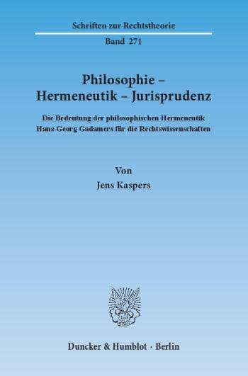 Cover: Philosophie – Hermeneutik – Jurisprudenz