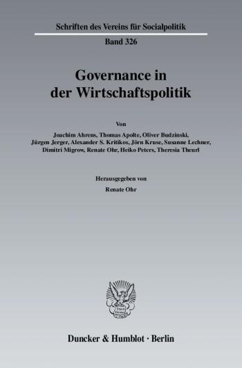 Cover: Governance in der Wirtschaftspolitik