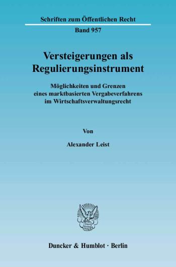 Cover: Versteigerungen als Regulierungsinstrument