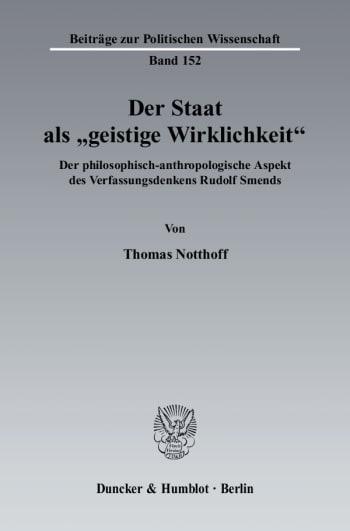 """Cover: Der Staat als """"geistige Wirklichkeit"""""""