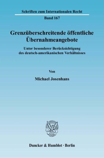 Cover: Grenzüberschreitende öffentliche Übernahmeangebote