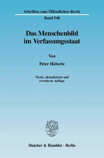 Cover: Das Menschenbild im Verfassungsstaat