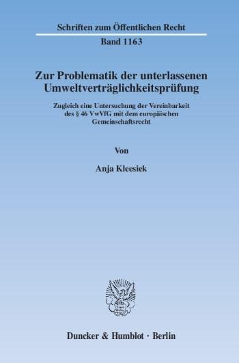 Cover: Zur Problematik der unterlassenen Umweltverträglichkeitsprüfung