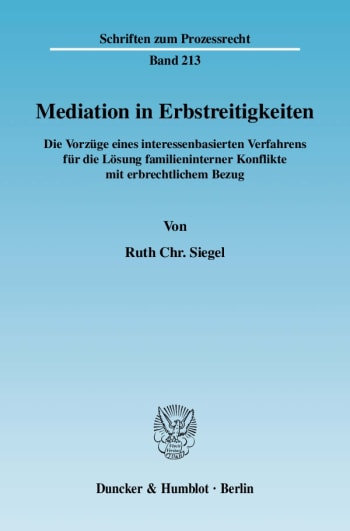 Cover: Mediation in Erbstreitigkeiten