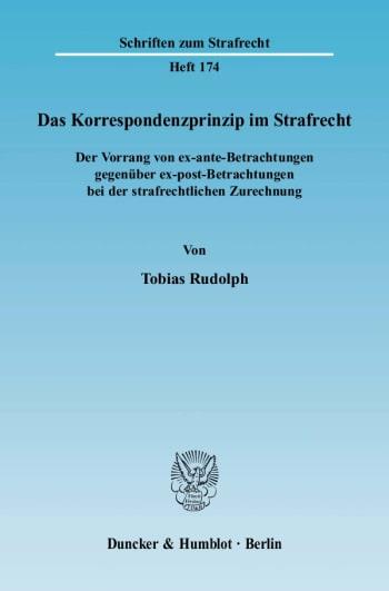 Cover: Das Korrespondenzprinzip im Strafrecht