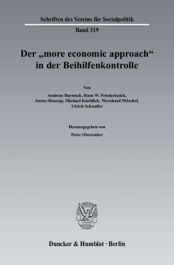 "Cover: Der ""more economic approach"" in der Beihilfenkontrolle"