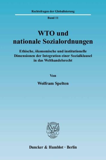 Cover: WTO und nationale Sozialordnungen