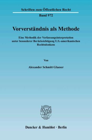 Cover: Vorverständnis als Methode