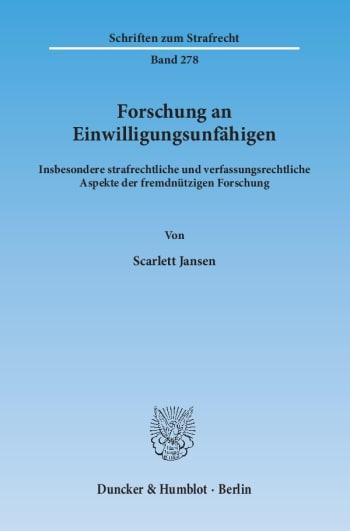 Cover: Forschung an Einwilligungsunfähigen