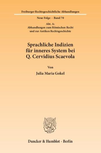 Cover: Sprachliche Indizien für inneres System bei Q. Cervidius Scaevola