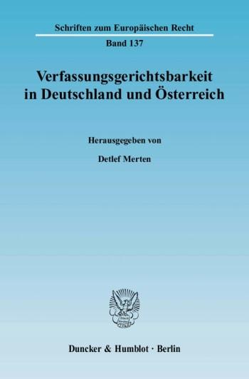 Cover: Verfassungsgerichtsbarkeit in Deutschland und Österreich