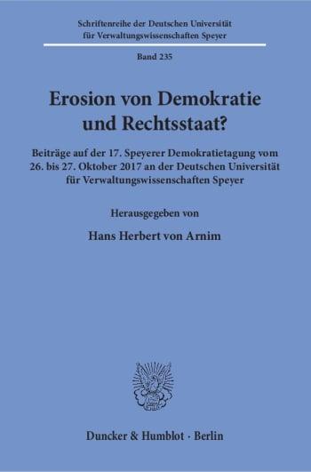 Cover: Erosion von Demokratie und Rechtsstaat?