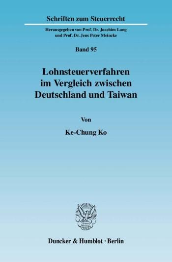 Cover: Lohnsteuerverfahren im Vergleich zwischen Deutschland und Taiwan