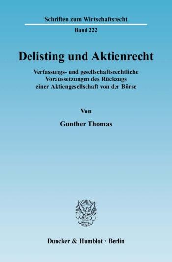 Cover: Delisting und Aktienrecht
