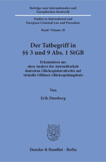 Cover: Der Tatbegriff in §§ 3 und 9 Abs. 1 StGB