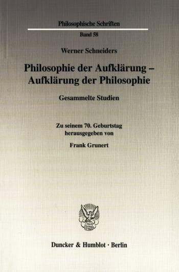 Cover: Philosophie der Aufklärung - Aufklärung der Philosophie