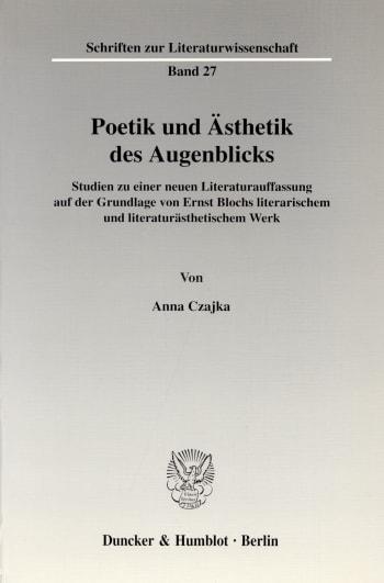 Cover: Poetik und Ästhetik des Augenblicks